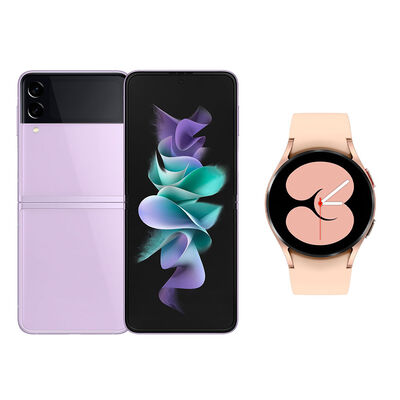 Smartphone Samsung Galaxy Z Flip 3 128 GB VIOLETA + Smartwatch Galaxy Watch 4 Gold