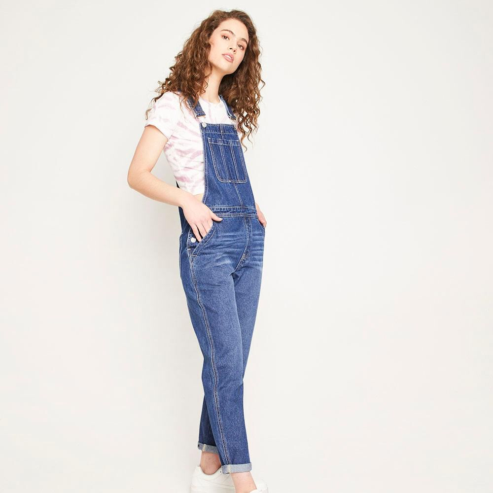 Jardinera Larga Jeans Mom Regular Fit Sin Mangas Mujer Freedom image number 0.0