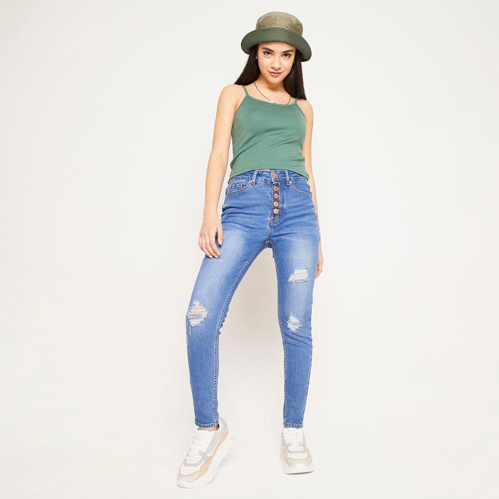 Jeans 5 Botones Tiro Alto Skinny Con Roturas Mujer Freedom image number 6.0