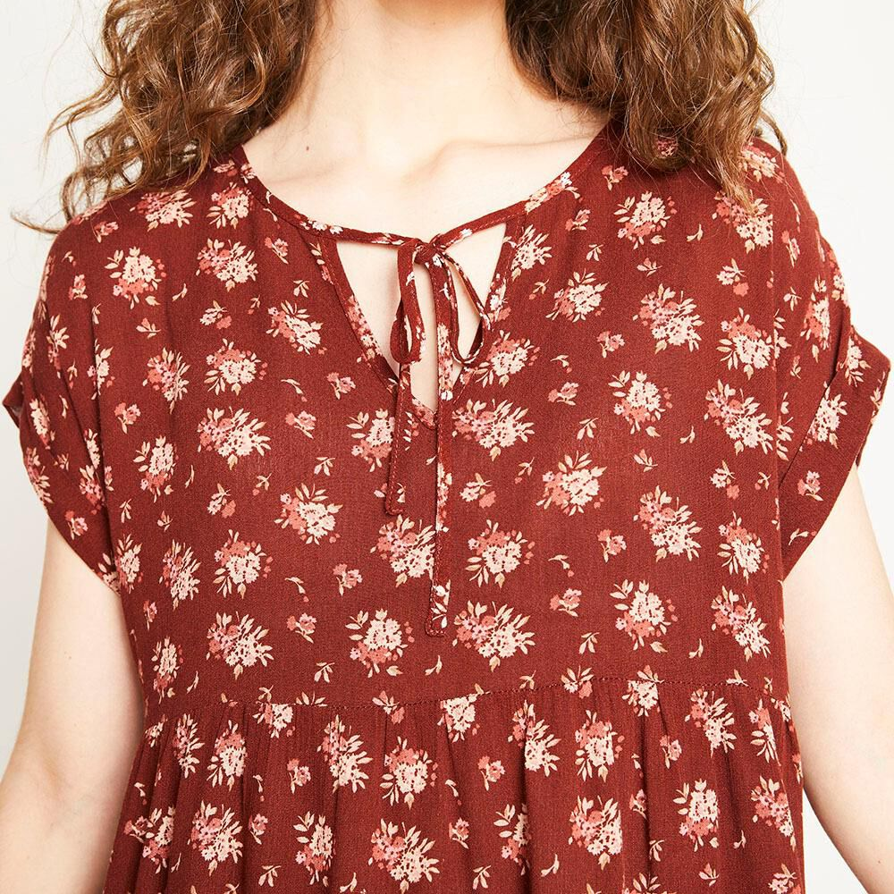 Blusa Relaxed Fit Manga Corta Cuello Redondo Con Lazo Mujer Freedom image number 3.0