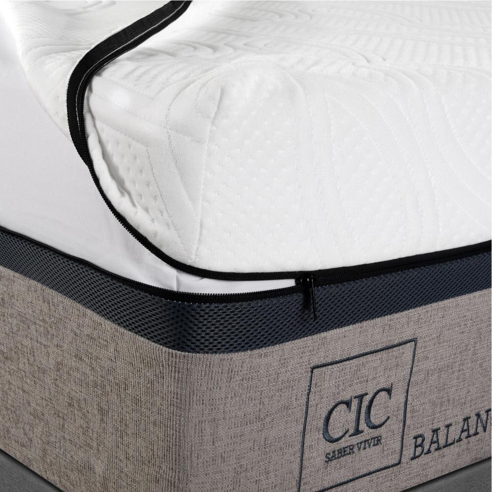 Box Spring Cic Balance / King / Base Dividida  + Set De Maderas image number 2.0