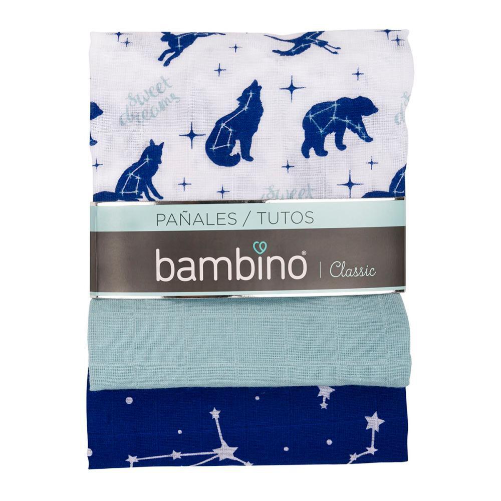 Pañales De Tela Bambino Tuto Blanco Con Lobos Azules / 3 Unidades image number 0.0