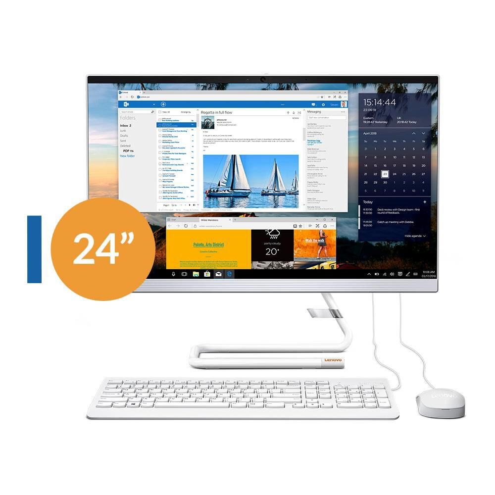 """All In One Lenovo Ideacentre A340-24IWL / Intel Core I3 / 8 GB Ram / 512 GB SSD / 23.8 """" image number 0.0"""