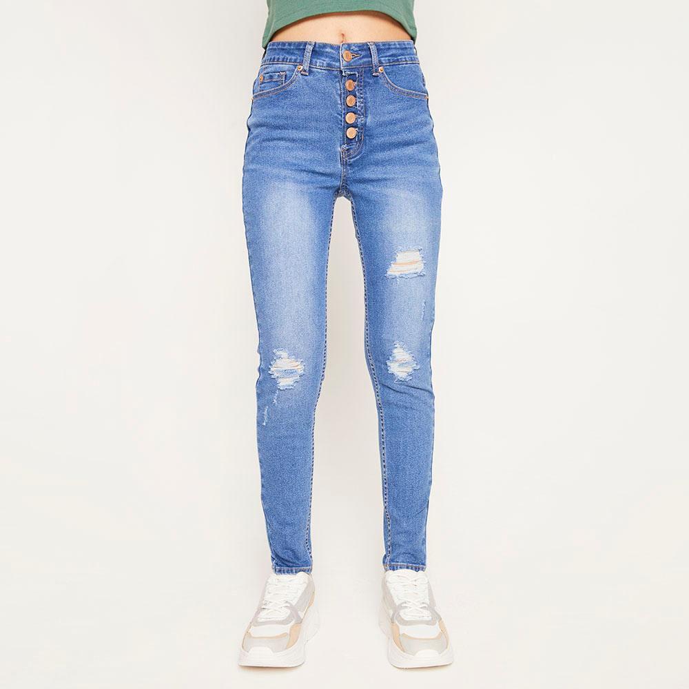 Jeans 5 Botones Tiro Alto Skinny Con Roturas Mujer Freedom image number 0.0