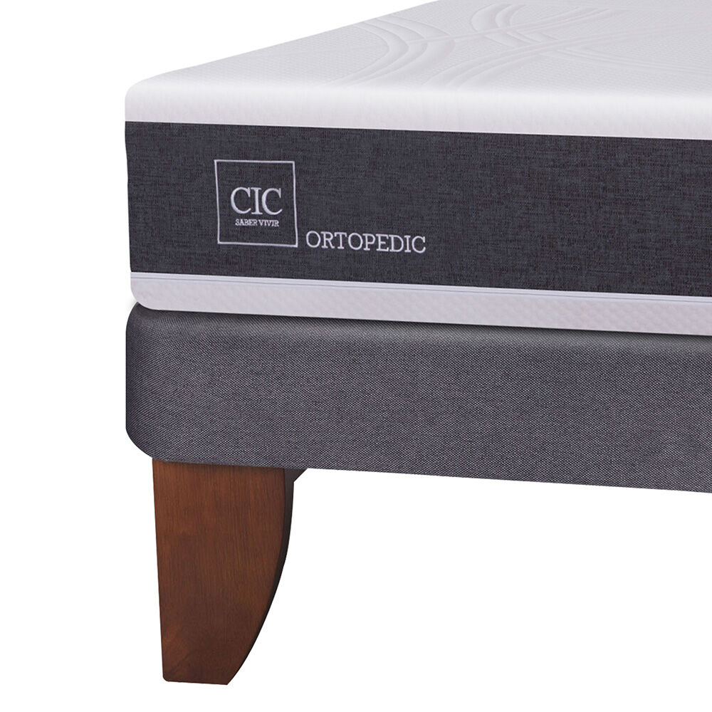Cama Europea Cic New Ortopedic / 2 Plazas / Base Normal + Set De Maderas image number 2.0