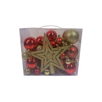 Esferas Casaideal Rojo/dorado 49 Esferas + Estrella