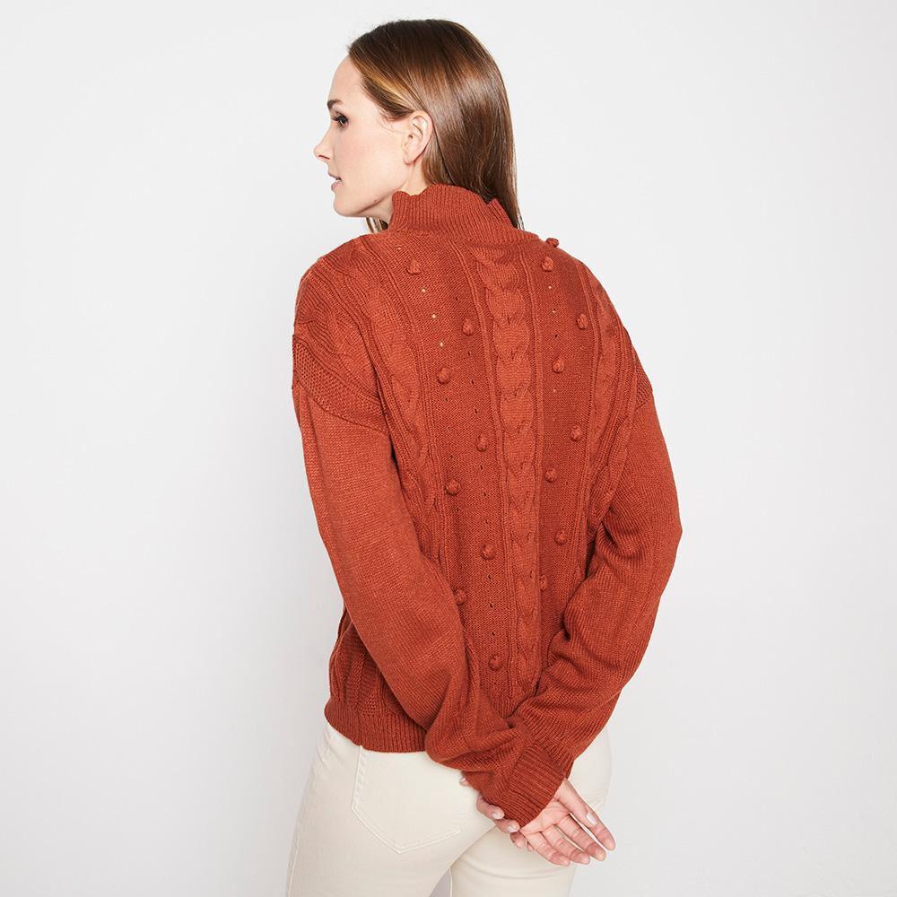 Sweater Pompones Trenzado Cuello Alto Mujer Kimera image number 2.0