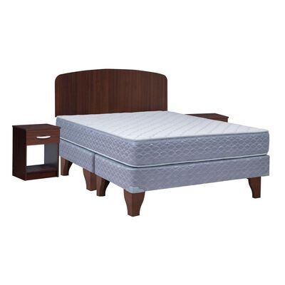 Cama Europea Celta Apolo Black / 2 Plazas / Base Dividida  + Set De Maderas