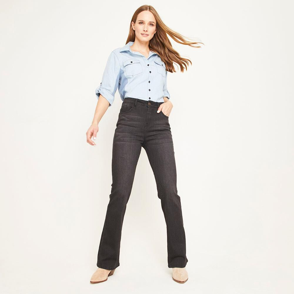 Jeans Tiro Medio Flare Mujer Geeps image number 1.0