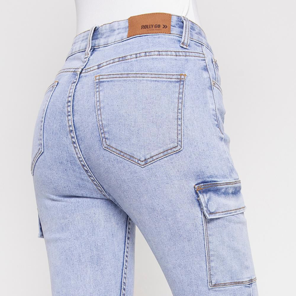 Jeans Mujer Tiro Alto Cargo Rolly Go image number 4.0