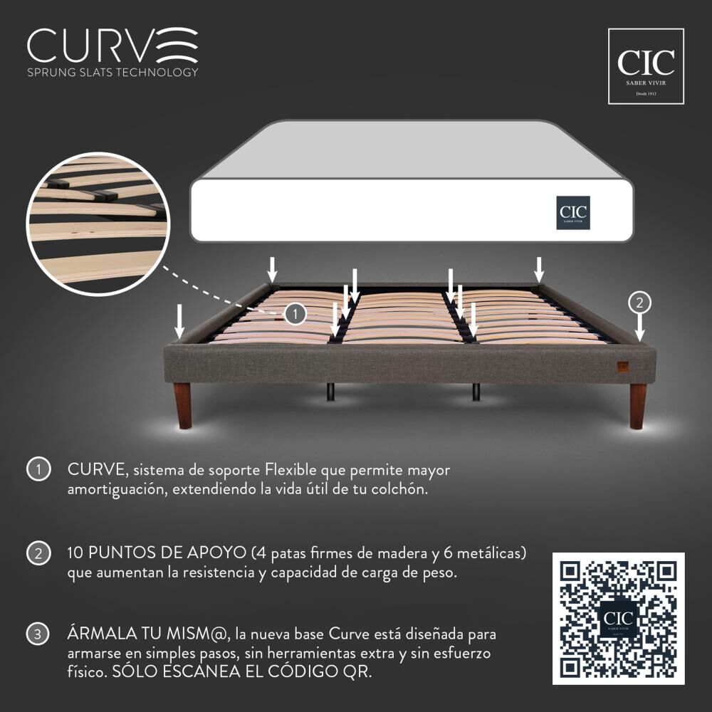Cama Europea Cic Cocopedic / King / Base Normal + Set De Maderas image number 12.0