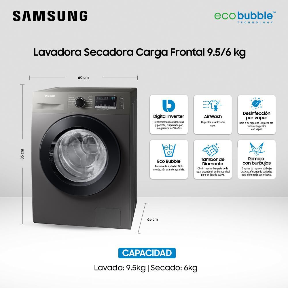 Lavadora Secadora Samsung Wd95t4046ce/zs 9.5 Kilos / 6 Kilos image number 3.0