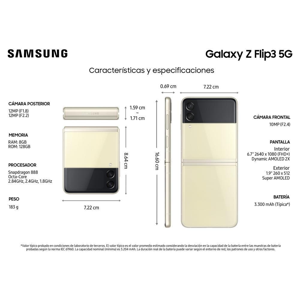 Smartphone Samsung Galaxy Z Flip 3 Crema / 128 Gb / Liberado image number 2.0