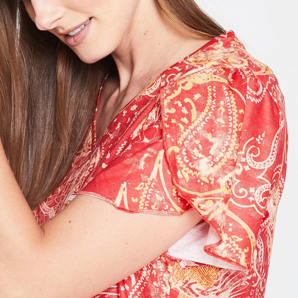 Polera Con Vuelos Cuello V Mujer Geeps image number 3.0