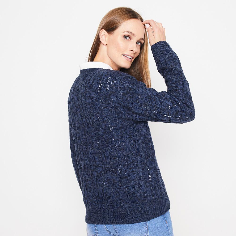 Sweater Jaspeado Trenzado Largo Mujer Geeps image number 2.0