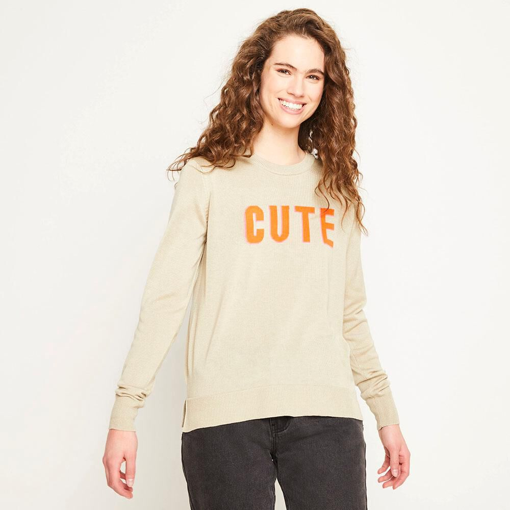 Sweater Texto Regular Fit Cuello Redondo Mujer Freedom image number 0.0