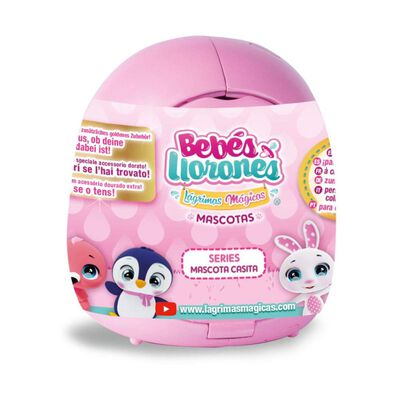 Muñeca Cry Babies Mascotas Casita Rosada