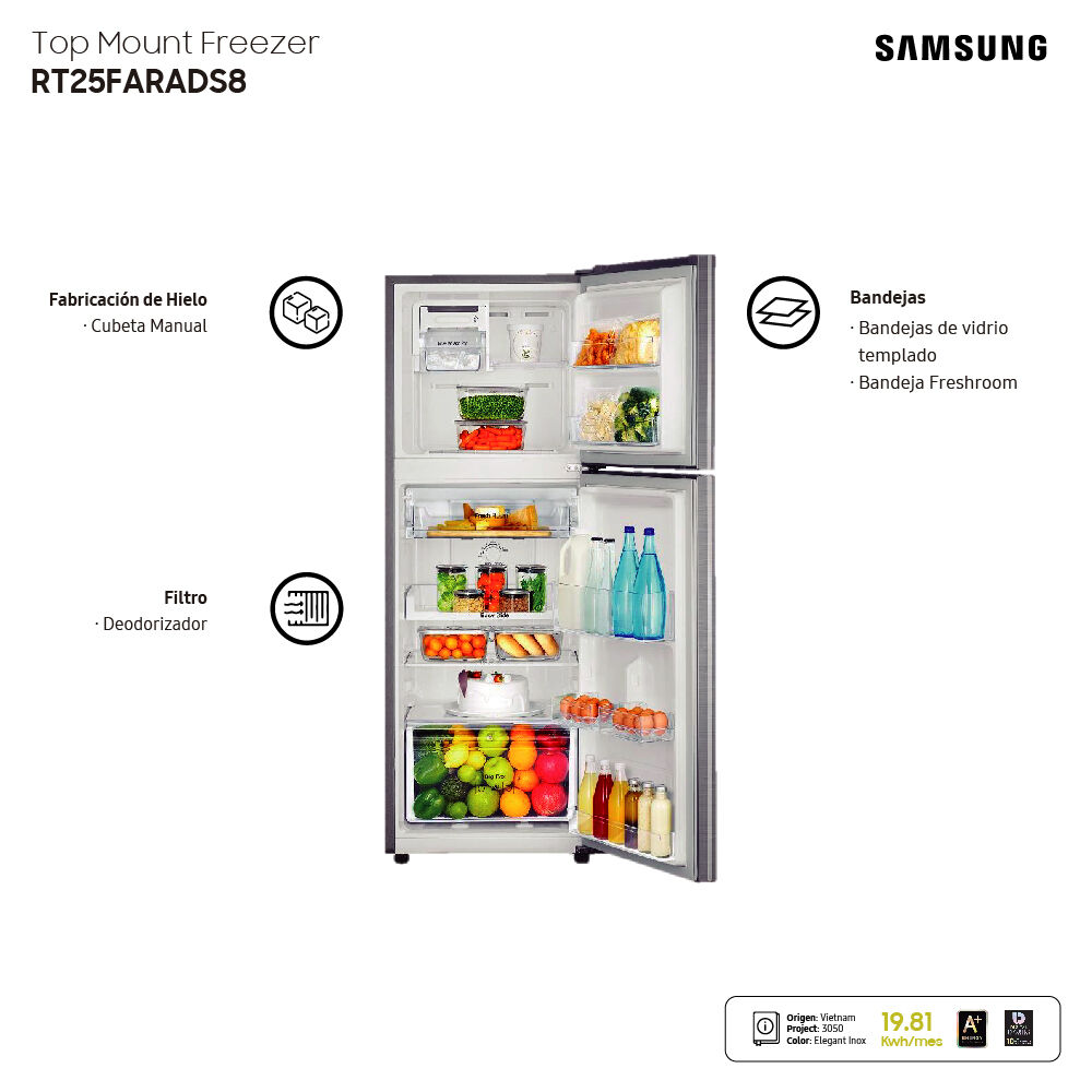 Refrigerador Top Freezer Samsung RT25FARADS8/ZS / No Frost / 255 Litros image number 10.0