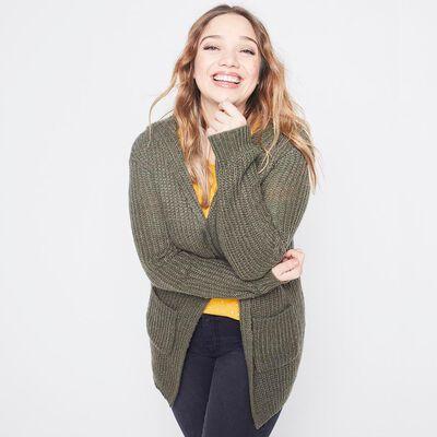 Sweater Cardigan Con Gorro  Mujer Sexy Large