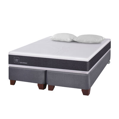 Box Spring Cic New Ortopedic / 2 Plazas / Base Dividida + Almohadas