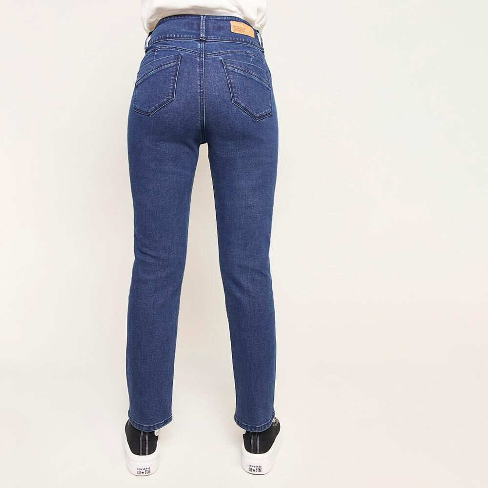 Jeans Pretina Ancha Botones Tiro Alto Sculpture Mujer Freedom image number 2.0
