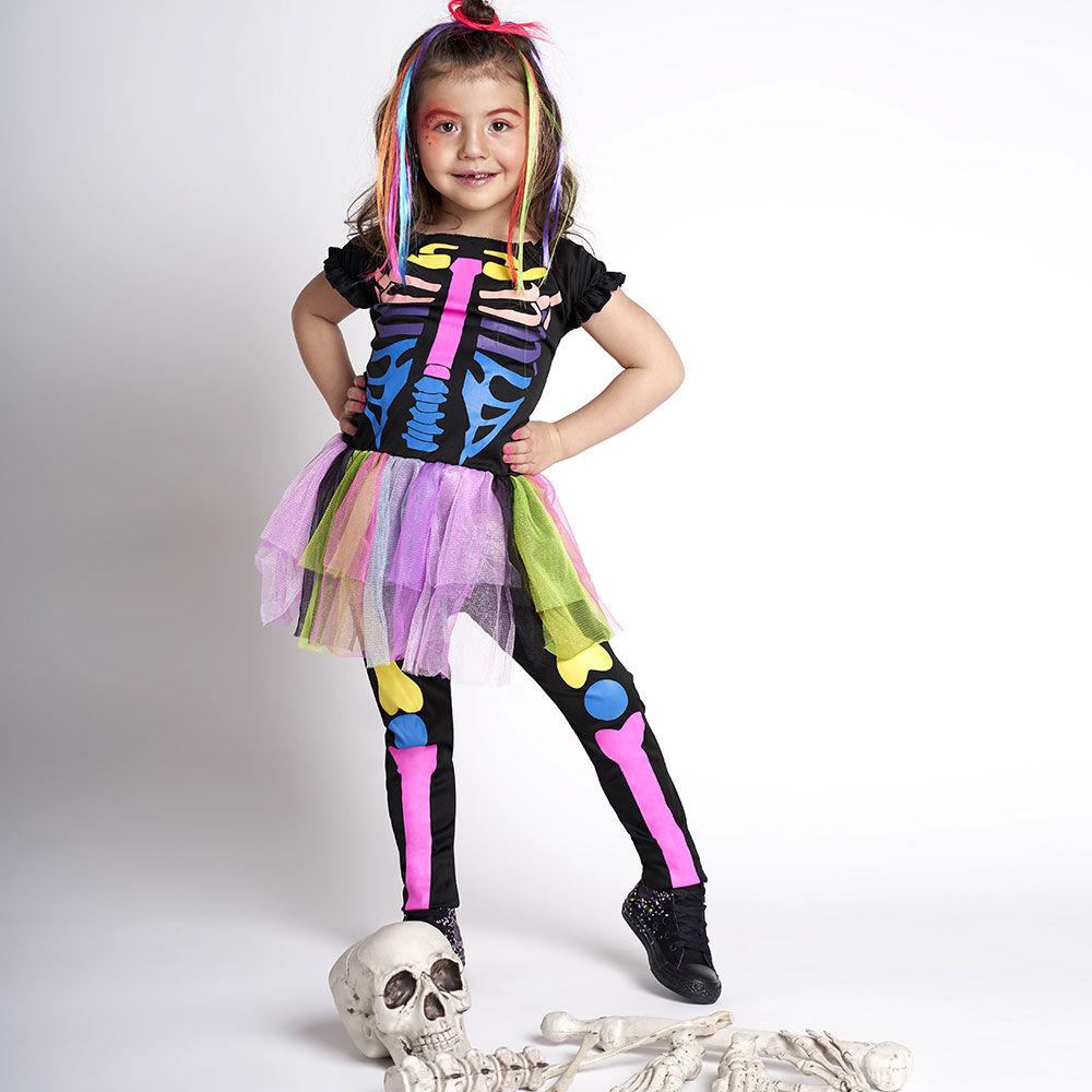 Disfraz Glam Esqueleto Flúor Niña Talla 4/6 image number 0.0