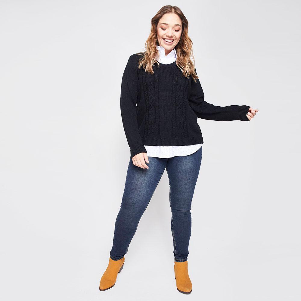 Sweater Trenzado Con Blusa Falsa Cuello V Mujer Sexy Large image number 1.0