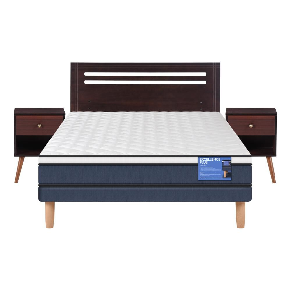 Cama Europea Cic Excellence Plus / 2 Plazas / Base Normal  + Set De Maderas image number 0.0