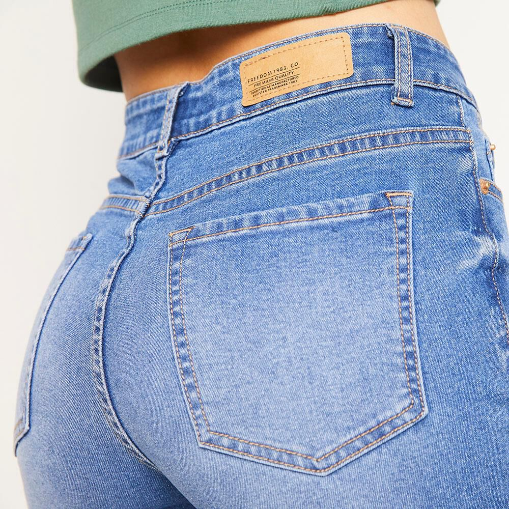 Jeans 5 Botones Tiro Alto Skinny Con Roturas Mujer Freedom image number 4.0