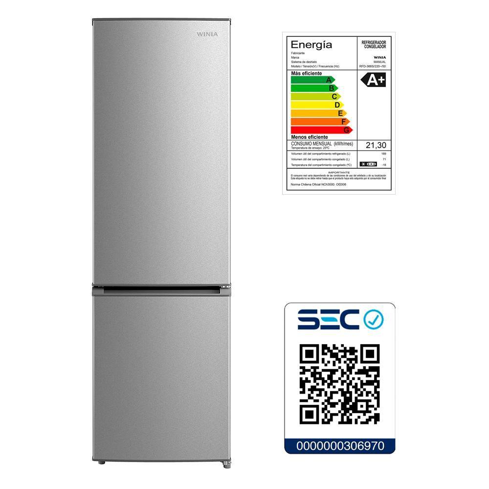 Refrigerador Winia Frío Directo, Bottom Freezer Rfd-366s 260 Litros image number 7.0
