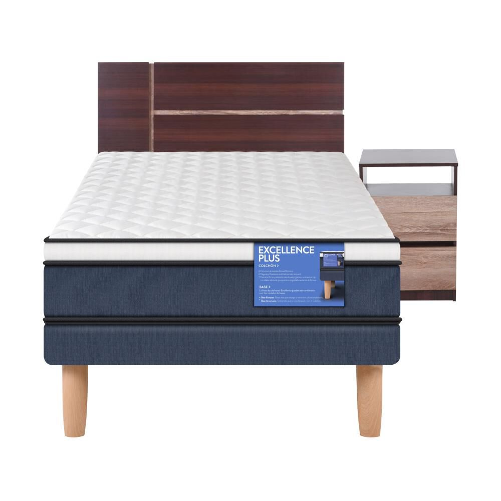 Cama Europea Cic Excellence Plus / 1.5 Plazas / Base Normal + Set De Maderas image number 0.0
