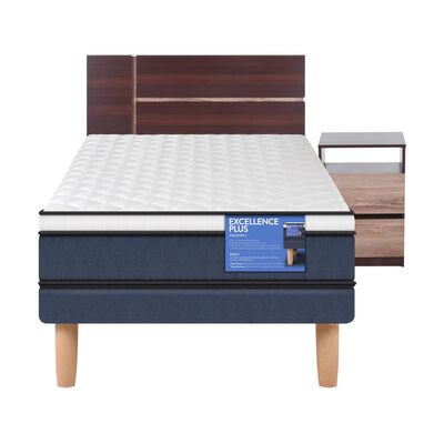 Cama Europea Cic Excellence Plus / 1.5 Plazas / Base Normal + Set De Maderas