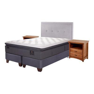 Box Spring Cic Grand Premium / 2 Plazas / Base Dividida  + Set De Maderas