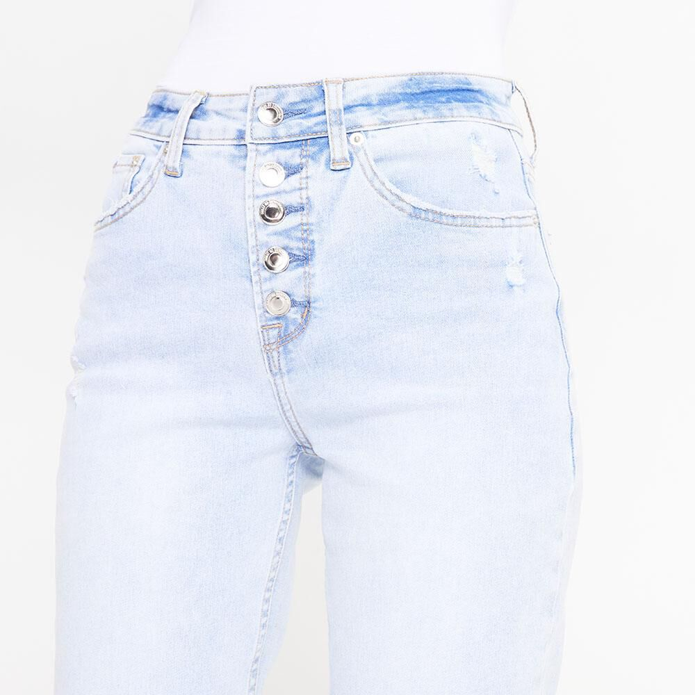 Jeans Tiro Alto Crop Botones Mujer Rolly Go image number 3.0