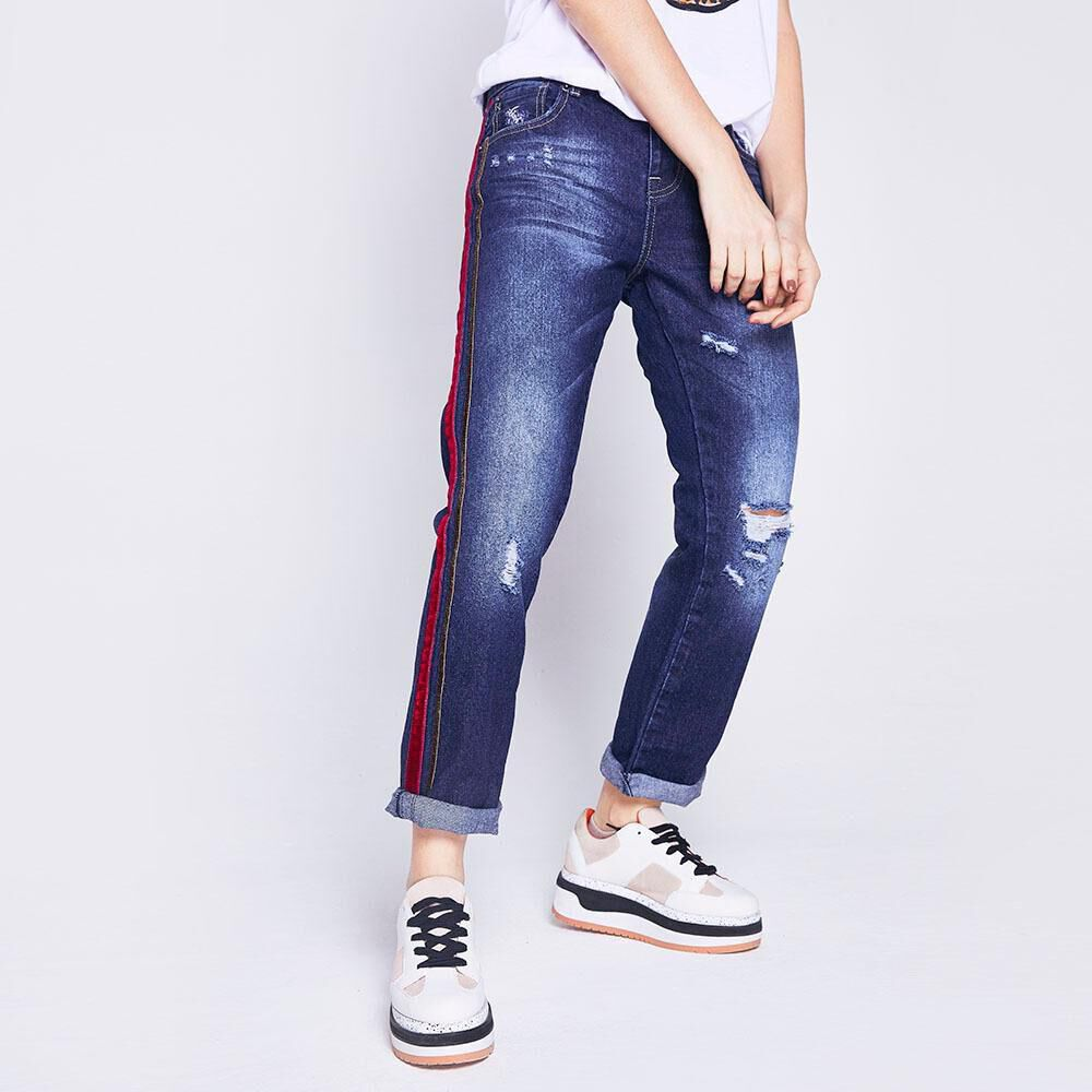 Jeans Mujer Boyfriend Lineas Laterales Freedom image number 0.0