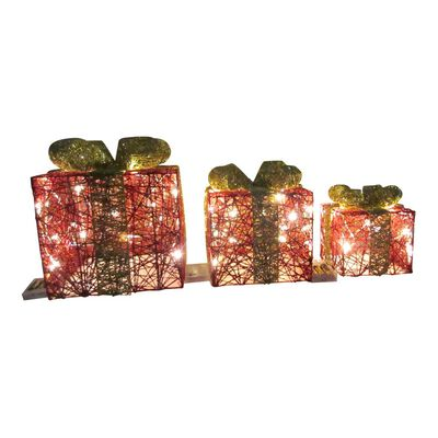 Adorno Navidad Casaideal Cajas De Regalo Con Luces