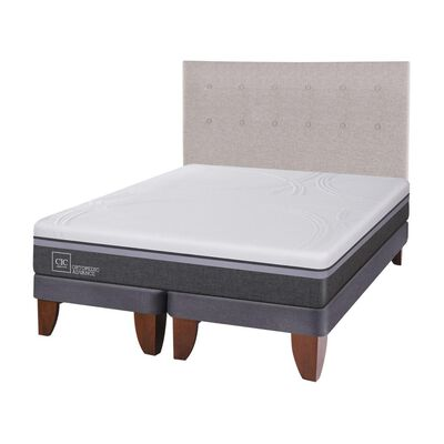 Cama Europea Cic Ortopedic Advance / 2 Plazas / Base Dividida  + Respaldo