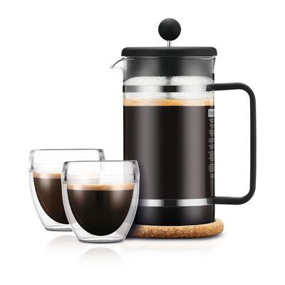 Cafetera Prensa Francesa Bodum K1508 + Vasos / 1 Litro