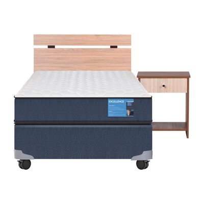 Cama Americana Cic Excellence / 1.5 Plazas / Base Normal  + Set De Maderas