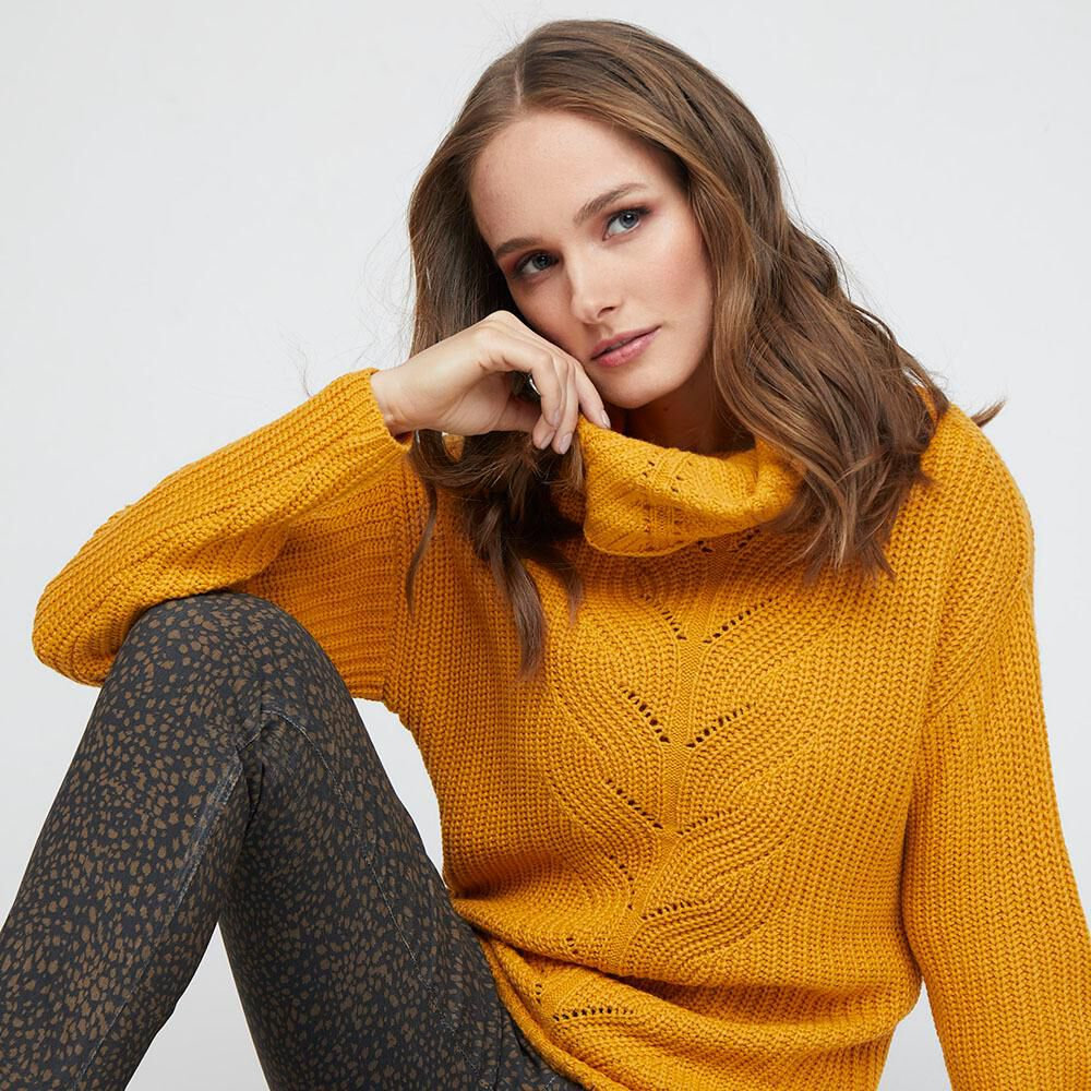 Sweater Tejido Largo Cuello Alto Mujer Kimera image number 4.0