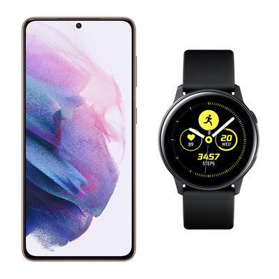 Smartphone Samsung S21 Morado + Galaxy Active Black