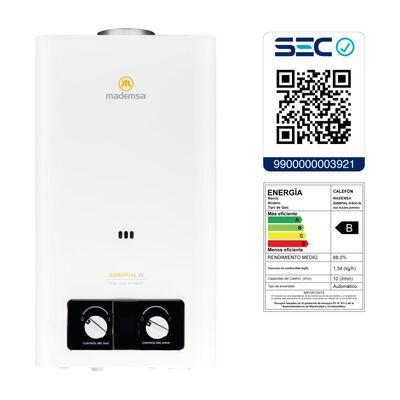 Calefont Mademsa Essential 10 Eco Gl / 10 Litros / Gas Licuado