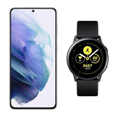 Smartphone Samsung S21 Blanco + Galaxy Active Black
