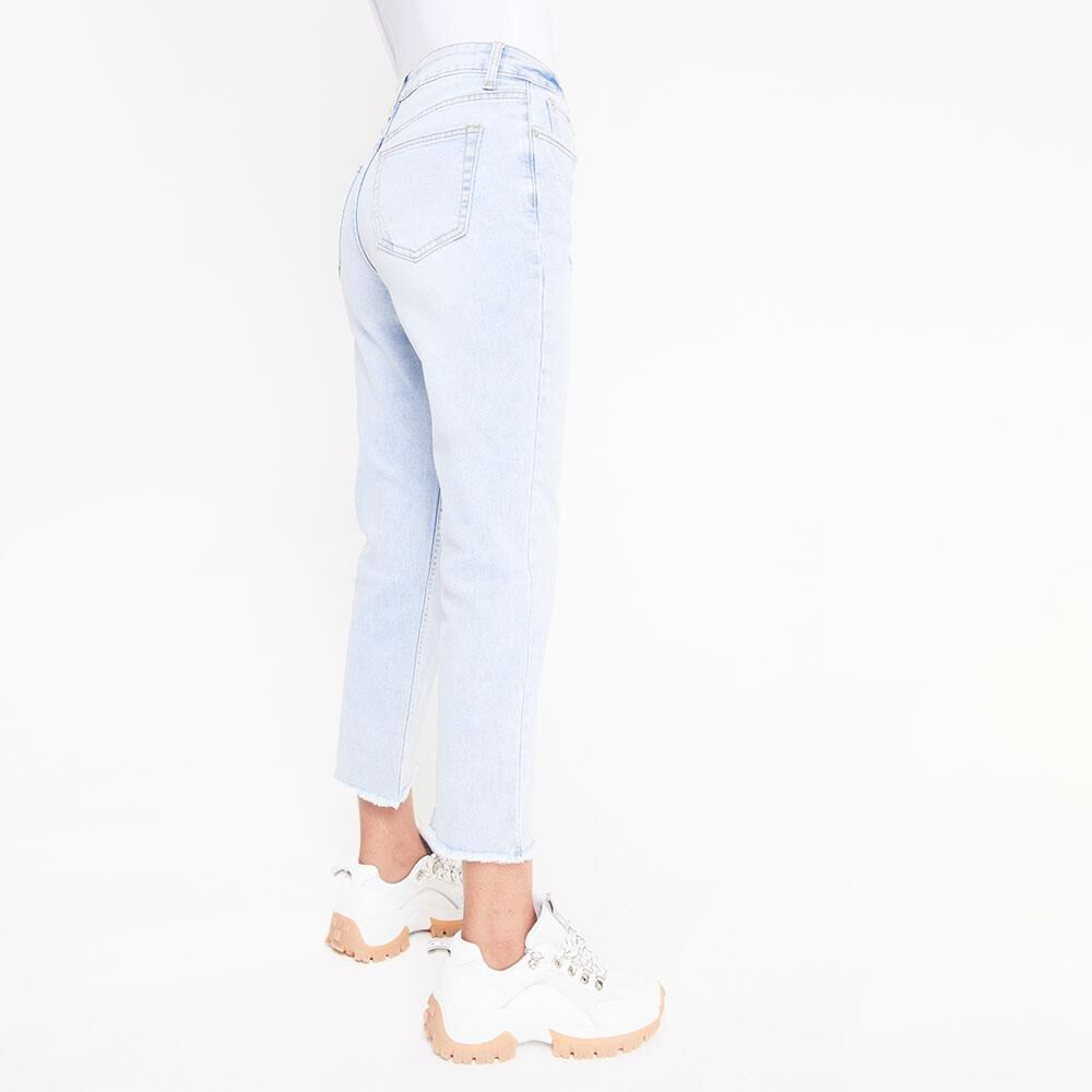 Jeans Tiro Alto Crop Botones Mujer Rolly Go image number 2.0