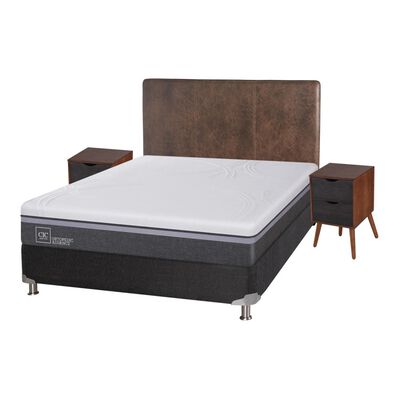 Box Spring Cic Ortopedic / 2 Plazas / Base Normal  + Set De Maderas