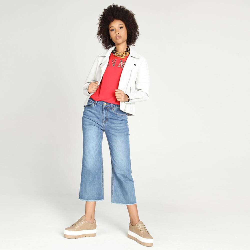 Jeans Mujer Tiro Medio Flare Crop Rolly go image number 1.0