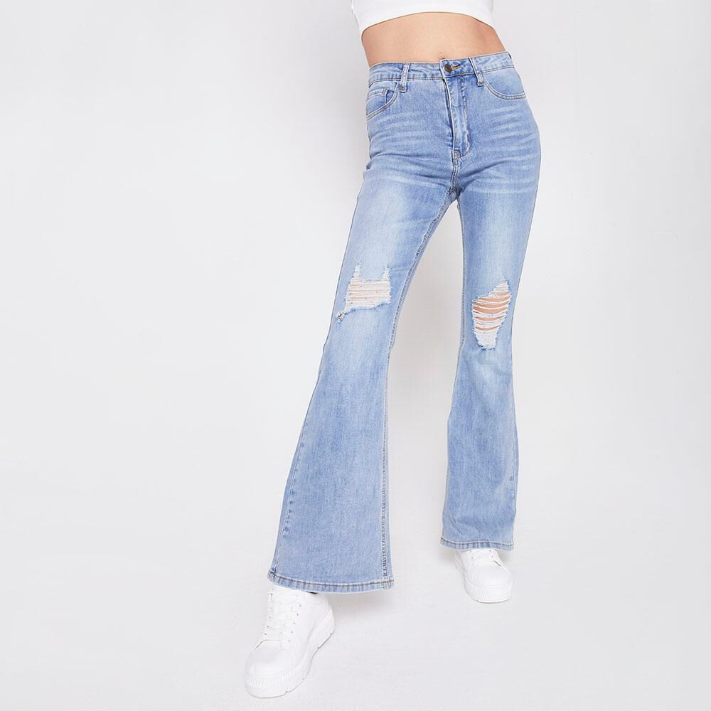 Jeans Tiro Alto Flare Roturas Mujer Freedom image number 0.0