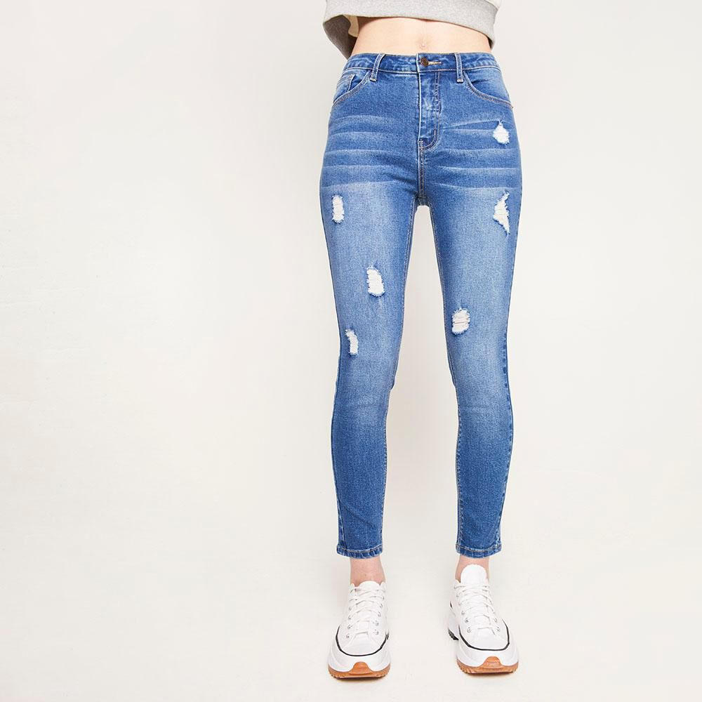 Jeans Tiro Alto Super Skinny Con Roturas Mujer Freedom image number 0.0
