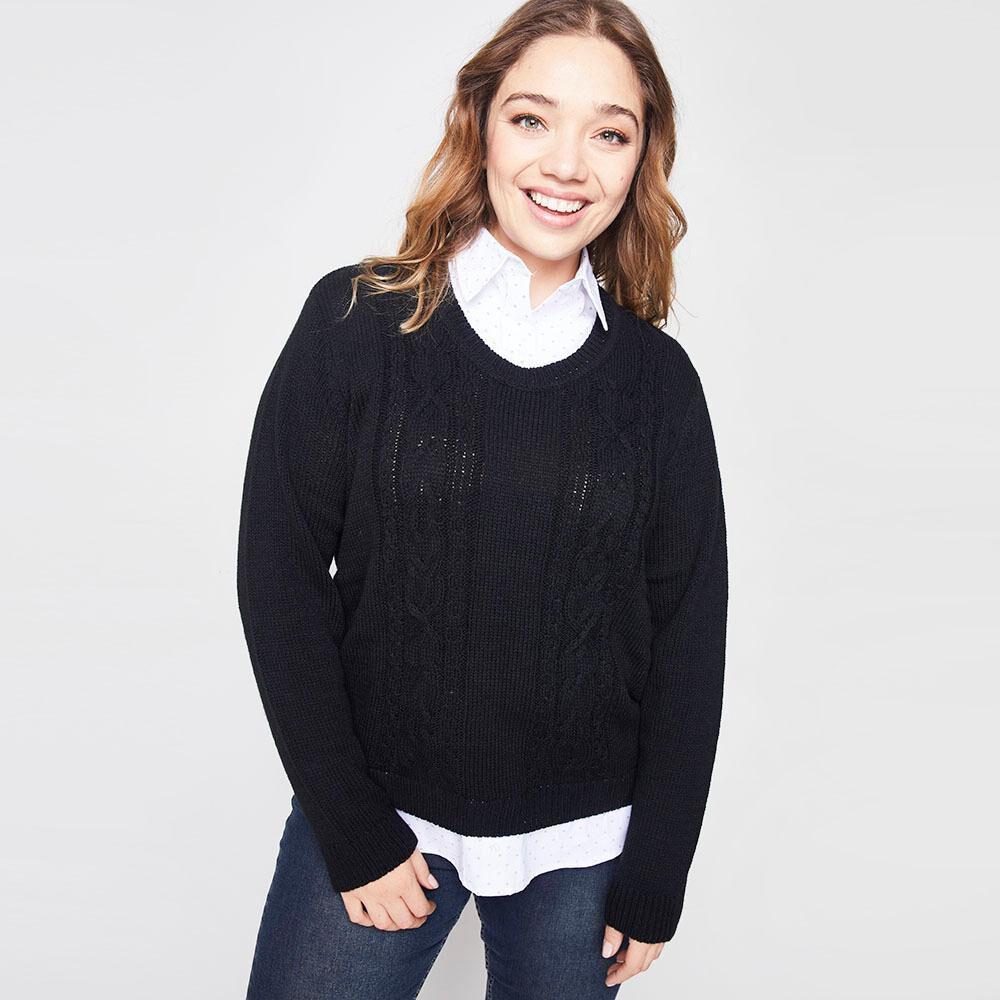 Sweater Trenzado Con Blusa Falsa Cuello V Mujer Sexy Large image number 0.0