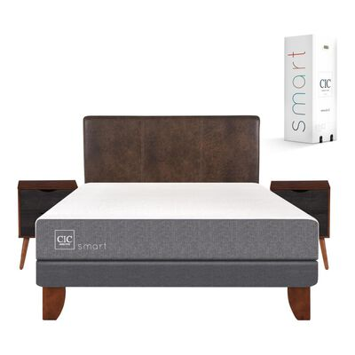 Cama Europea Cic Smart / 2 Plazas / Base Normal  + Set De Maderas